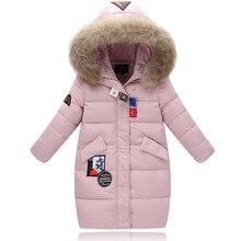 XYF8832 Boys Girls Winter Down Jackets Kids Big Fur Collar Pink Winter Jacket Coat Warm Outerwear Long Coat 85% White Duck Down