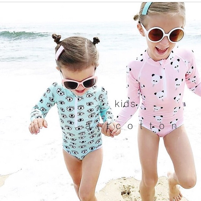 68d720d29c UPF 50+ Kids Swimwear Summer Baby Girls Bikini Suit Panda Eyes Long Sleeve  Swimsuit Boys Bathing One-Piece Swimming Clothes New