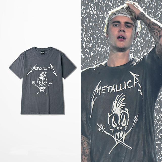 Justin Bieber Temor de Deus Propósito Turnê O-pescoço Curto Tee Banda de Rock Metallica Curto Tee Hip Hop Estilo