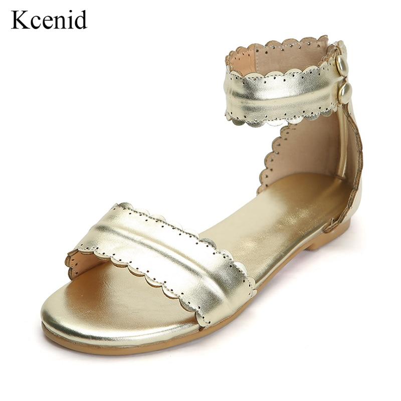8fd4f5375a0c4d Taille D'été 2019 Or Gladiateur Sandales Chaussures Plates Kcenid Qualité  Top Grand De Femmes Mode ...