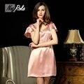 Новое лето сексуальная 100% шелк розовый женщины sleepdress ночные рубашки случайные Чистый цвет качество 100% шелк Тутового ночная рубашка для женщин