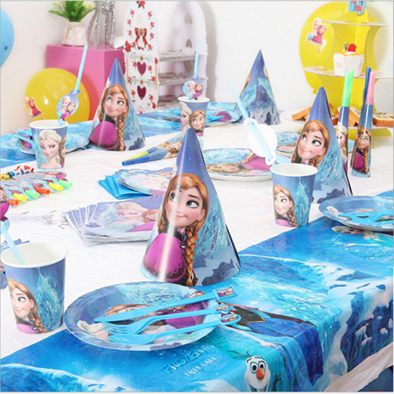 18 Person 205pcs Snow Queen Elsa Anna For Theme Party Supplies Children Birthday Decoration One Time Tableware Super Set In Event From Home