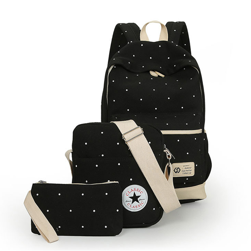 2017 New Brand Design Women Canvas Backpack Set Composite Bag School Teenager Girls Travel Bag Bookbag