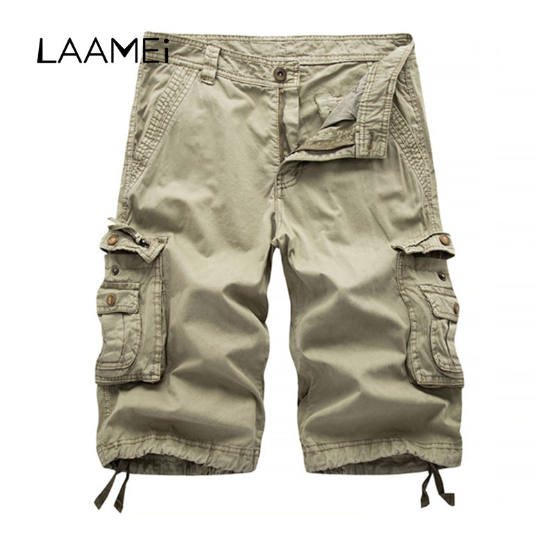 Laamei Loose Knee-length Short Casual Cargo ShortsTrousers Brand Summer Multi-pocket Zipper Fly Solid Mens Casual Shorts