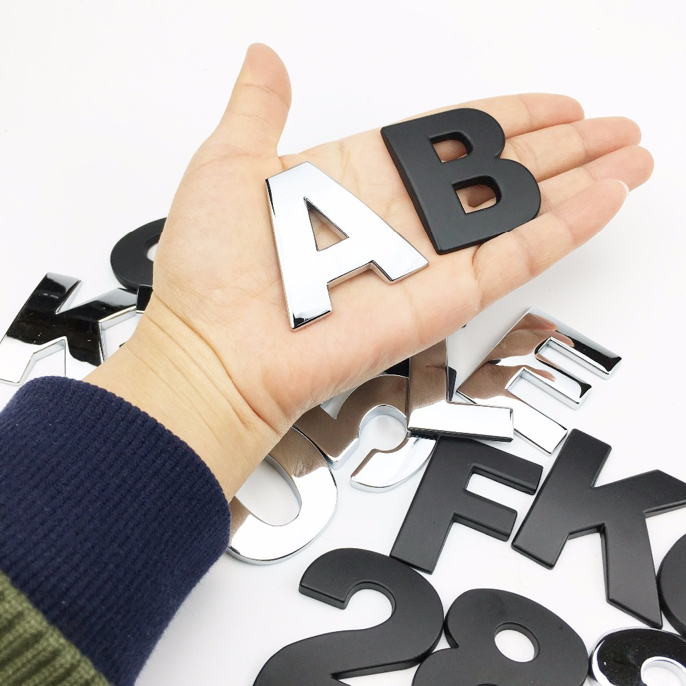 Car Styling 3D Metal Personality Letters Number Emblem Chrome DIY Car Sticker Badge Auto Logo Accessories Motorcycle Sticker