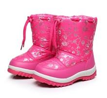 2016 зимние Дети теплый хлопок сапоги девушки скольжения водонепроницаемый шерсти ботинки снега. дети обувь