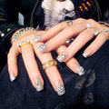 D18 Acrylic with rhinestone False Nail With Glue sticker 24pcs Beautiful bride Fake Nails Sexy Press On Nail Manicure Flash chip