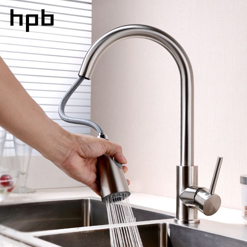 все цены на HPB Pull Out Kitchen Faucet Mixer Tap Rotatable Single Handle Sink Faucet Brass Chrome Brushed Finish Hot and Cold Water HP4104