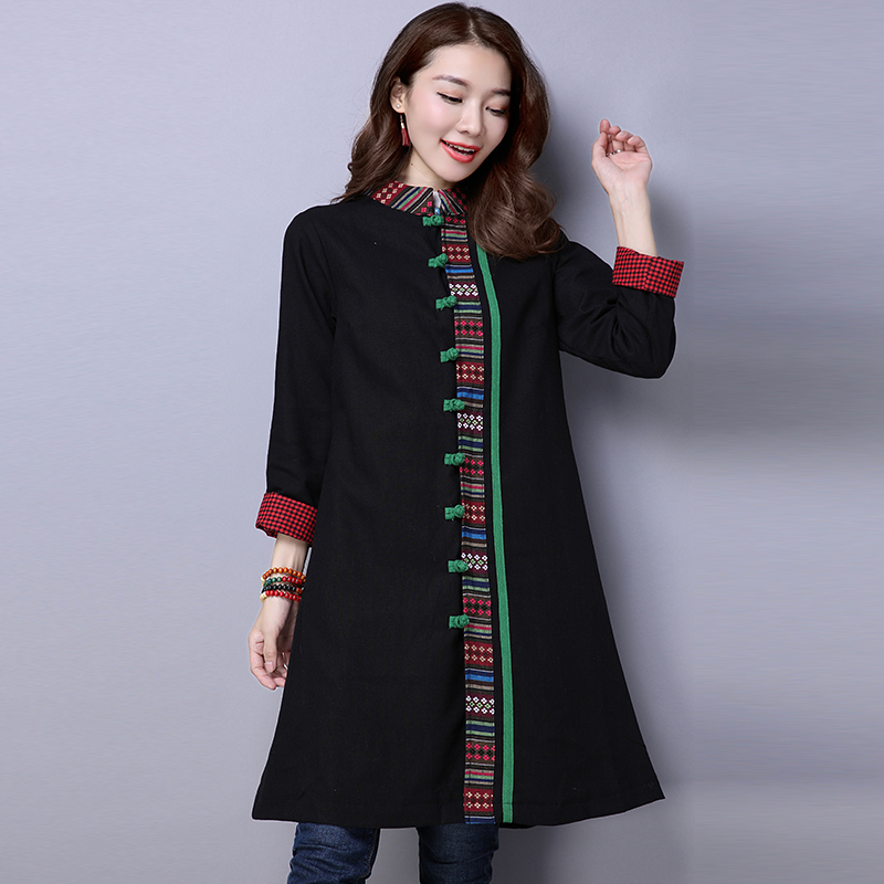 ee899ce85 2017 Autumn And Winter Chinese Style Artistic Loose Long Coats Women Black  Ethnic Style Vintage Windbreaker Coat Womens