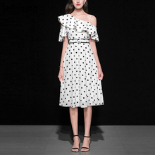 Seifrmann New Spring Summer Women Dress Runway Fashion Designer Gorgeous Ruffles Dot Printed Elegant Slim Off shoulder Dresses