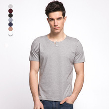 In the summer of 2016 the new men's short sleeve T-shirt cotton bamboo fiber pure color