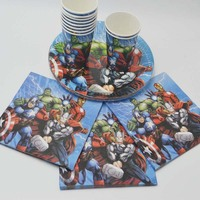 40pcs Lot Avengers Birthday Party Cup Plate Napkin Kids Party Decoration Disposable Tableware Kids Boys Superhero