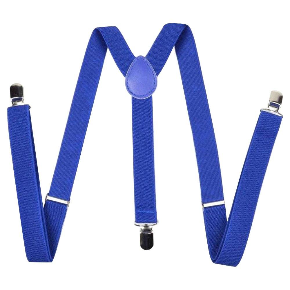 Unisex Color Straps Three Clips Suspenders Trouser Clips 2.5CM