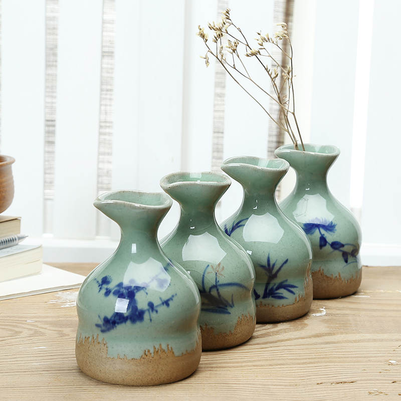 Fresh Mini Ceramic Small Vase Home Decor Gift Ideas And: Handmade Flowers Floral Device Vase Blue And White Ceramic