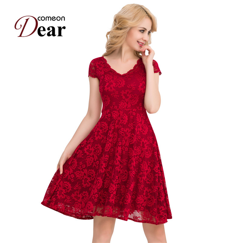 Buy Cheap VB1048 Fashion Women's Summer Dress 2017 Dark Red And Blue Cute Lace Dress Plus Size V-neck Short Sleeve Sexy Vintage Dress