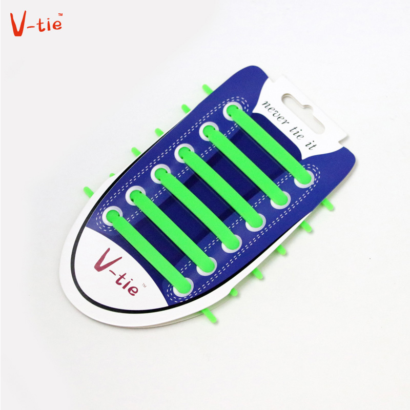 V-ties1-50 Sets Solid Green  Creative Flexible Arrow-shaped Unisex Shoelaces Elastic Shoe Laces Creative Silicone Children Laces family ties