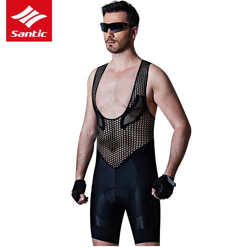 Santic Men's Profession Radsport-Trägerhose Top-Qualität Italienisch importiertes Gewebe 4D-Kissen Pad Atmungsaktive Fahrradbekleidung