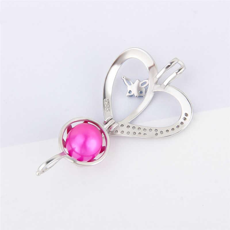 CLUCI Silver 925 Heart Butterfly Charms Pendant for Women Jewelry 925 Sterling Silver Zircon Pendant Jewelry Pearl Locket