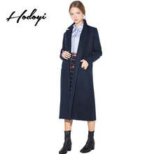 Hodoyi Women Fashion New Autumn Solid Navy Blue Button Fly Slim Trench Coat Long Sleeve Turn-down Collar Double Breasted Coat