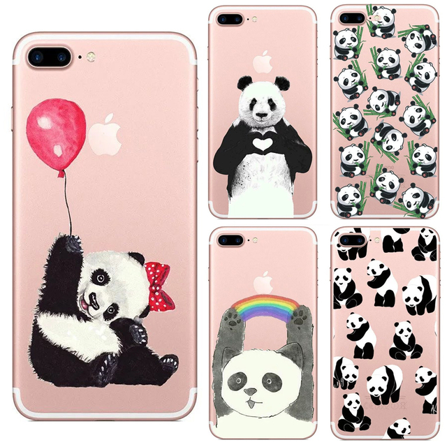 58a71aef393 Lovely Animals China Panda Transparent TPU Case Cover For Iphone 6 6s 4 4s  5 5s