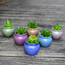 GQIYIBBEI Retro Style Ceramic Iice Cracked Flowerpot For Home Office Decoration Six Color Garden Flower Pot