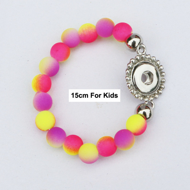 1pc Interchangeable Nice Purple Pink Color Beads Snap Bracelets Jewelry For 12mm Metal Snaps 15cm Length