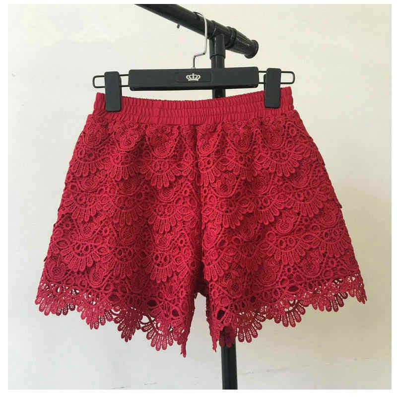 8 kolory Hollow koronkowe szorty kobiet Hotpants lato czarne szorty Feminino kobiety krótki plaża elastyczna wysoka talia Sexy szorty C4417