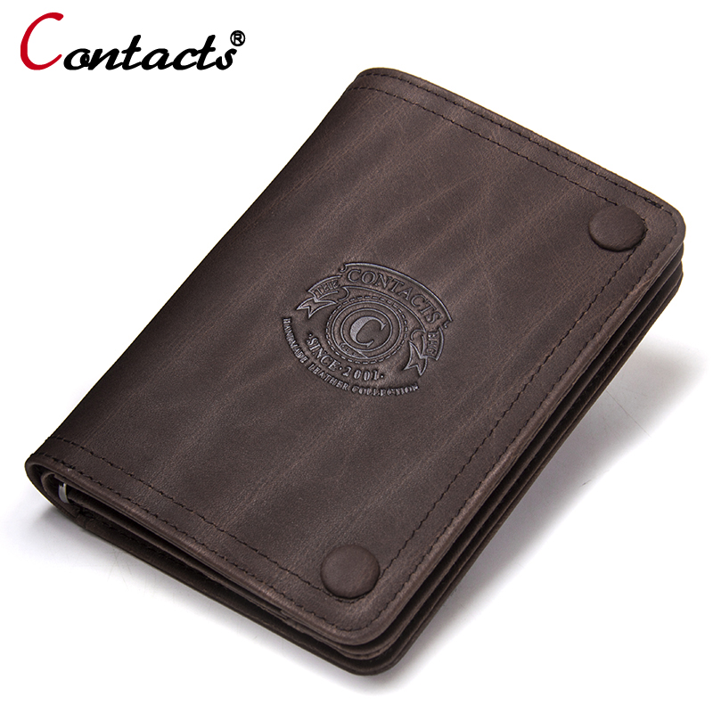 CONTACT'S 2018 Men Wallet Genuine Leather Men Wallet Crazy Horse Cowhide Leather Short Male Clutch Coin Purse Card Holder Wallet jinbaolai genuine crazy horse cowhide leather men wallets coin purse id card holder vintage brown long wallet clutch wrist bags