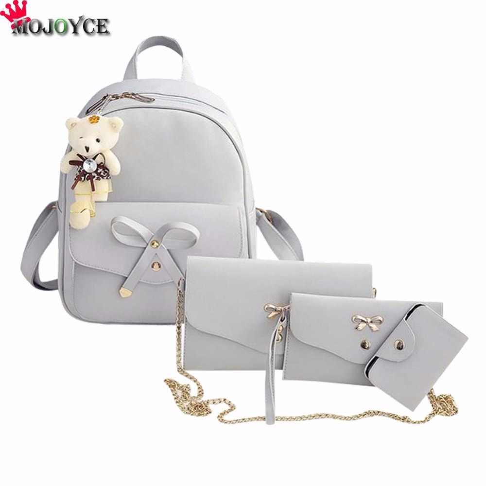 40846df7e9e2 компл. из искусственной кожи Для женщин рюкзак с милым бантом школьные ...