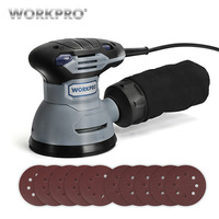 WORKPRO 300W Random Sander with Variable Speed Random Orbit Sander with 10PC sandpaper Dust exhaust and Hybrid dust canister