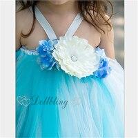 Ellie's Bridal Aqua Lake Blue color Affordable Wedding Gown flower girl dress Custom for buyer Sash ribbon Bohemian dress 1049