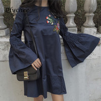 Qlychee Women S Elegant Women Clothing Flare Sleeve Floral Bird Embroidery Dres Lolita Dresses Harujuku Mori