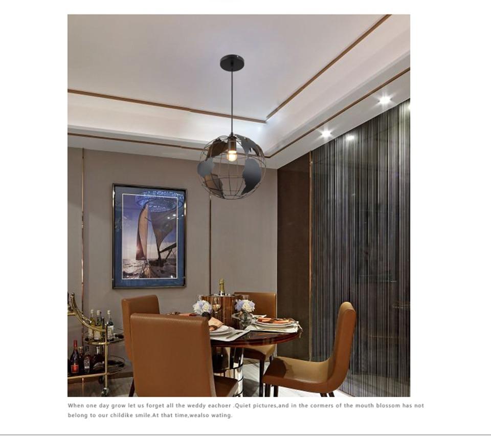Современный подвесной светильник в скандинавском стиле с шаром, карта мира, E27, лампа белого и черного цвета для гостиной, кафе, бара, лофт, винтажный светильник - 4