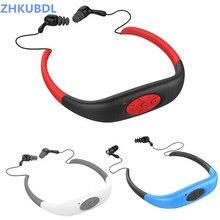 ZHKUBDL IPX8 กันน้ำกีฬา MP3 ผู้เล่น 4G 8G ใต้น้ำว่ายน้ำดำน้ำวิทยุ FM หูฟังสเตอริโอหูฟัง
