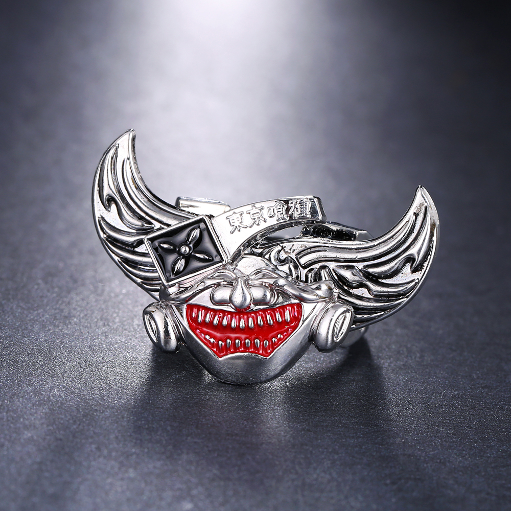 Free-shipping Wholesale Hot Anime Tokyo Ghoul Pattern Angel Wings rotatable Personal Unique Rings Fashion Creative Ring men