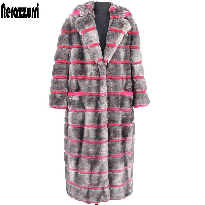 Nerazzurri Winter faux fur coat women 2019 furry fluffy gray and rose Red stripe fake mink