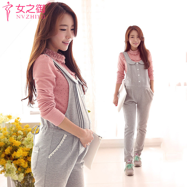 2016 New Pregnant Cartoon Suspender Trousers gray Colors Spring & Autumn Maternity Overalls M-XXL Women's Pregnant Pants