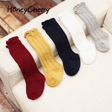 New Fashion spring Combed Cotton Socks Stockings Childrens Pure Twist Knee girls baby