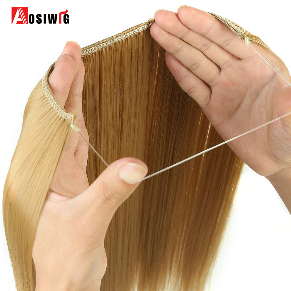 AOSIWIG Women's Fish Line Hair Extension Dark Brown Natural Wavy Long High Temperature Fiber Synthetic Clip Extension Wig