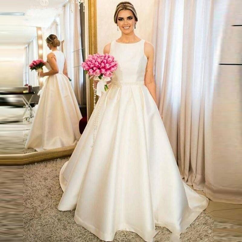 US $119.93 33% OFF|Vestido De Novia 2019 Simple Satin A Line Beading Waist  Wedding Dress Plus Size Wedding Bridal Gowns Robe De Mariee trouwjurk-in ...