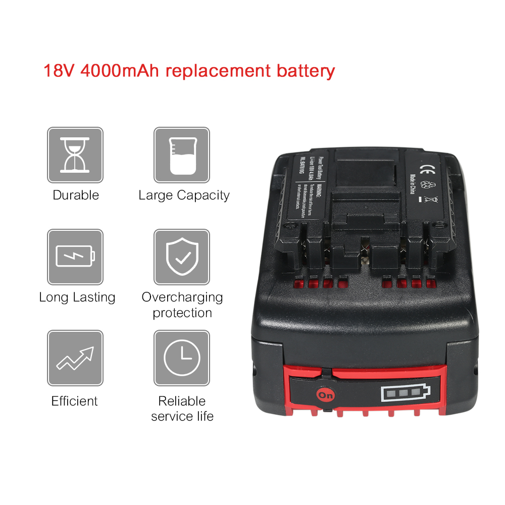 18V 4000mAh Replacement Li-ion Battery Lithium-ion Battery for Bosch Power Tools electric screwdriver electric cordless drill spare 2600mah 36v lithium ion rechargeable power tool battery replacement for bosch d 70771 bat810 2 607 336 107 bat836 bat840