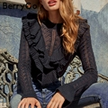 BerryGo Elegant ruffles hollow out white sweater Women streetwear slim autumn pullover 2018 Casual winter pullover sweater femme