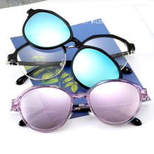 Oval Myopia Eyeglass Frame Lens Computer Glasses Spectacles Fashion Magnetic Cli