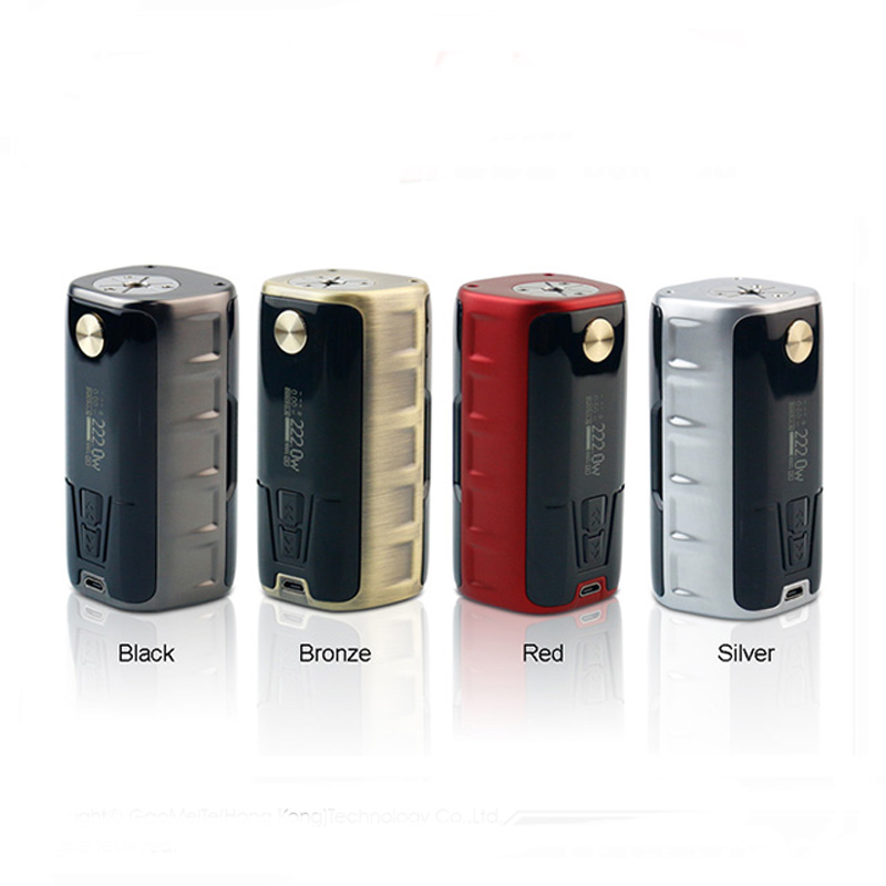 все цены на Original GTRS P222 222W High-end TC Box MOD Powered By Dual 18650 Batteries SS316 Ni200 Ti TCR Mode Vape E-Cigarette Mods онлайн