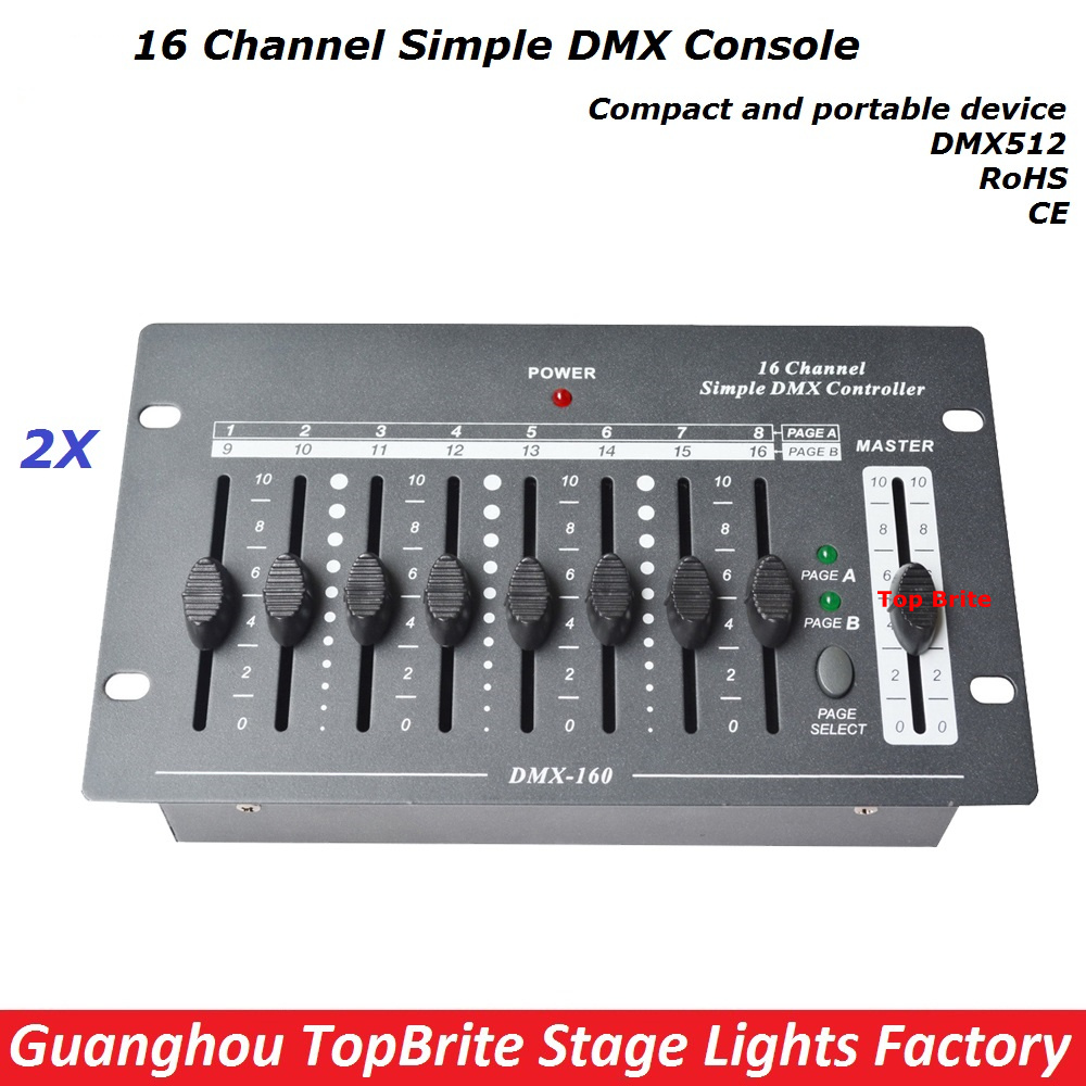 Free Shipping 2XLot 16 Channels Simple DMX Controller Stage Lighting DJ Equipment DMX 512 Console For Led Par moving head Light купить