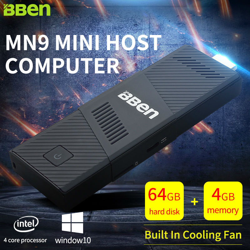 Bben Windows 10 Mini PC WiFi BT4.0 TV Box 4g/64gb intel CPU Z8350 Quad Core Cool Fan 4GB/64GB Intel Mini PC Stick Computer ainol mini pc windows 8 1 quad core intel z3735f tv box 7000mah power bank