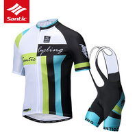 Santic Cycling Jersey Set 2019 Pro Team Men Cycling Set Short Sleeve Cycling Skinsuit 4D Pad Bike Bicycle Jersey Ropa Ciclismo