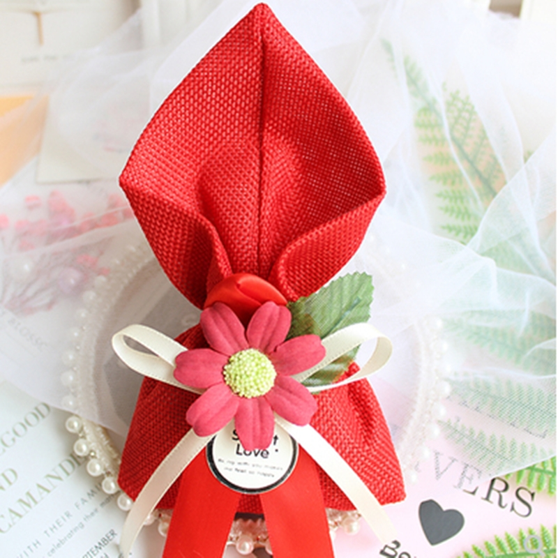 50pcs/lot NEW Linen Bag Wedding Candy Box Rose Gift Bags Baby Shower Boypackaging Gift Boxes Bonbonniere Event Party Supplies