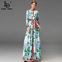 מעצב אופנה באיכות גבוהה שרוול ארוך שמלות מקסי נשים Bow החגור ירוק פרחוני מזדמן ארוכה בתוספת גודל