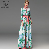 High Quality Fashion Designer Maxi Dresses Women's Long Sleeve Bow Belted Green Floral Printed Casual Long Dress Plus Size